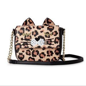 Betsey Johnson Meoww Kitsch Cat Leopard Crossbody